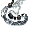 Silver pearl and multicolour gemstone long necklace