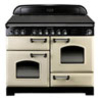 Rangemaster Classic Deluxe 110 Electric Ceramic range cookers in Cream / Chrome