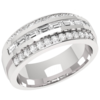 Women's Jewellery An eye-catching Baguette & Round Brilliant Cut dress diamond ring in platinum