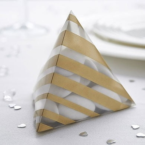 Striped Pyramid Favour Box Pack - Silver