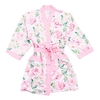 Women's Personalised Embroidered Floral Satin Robe with Pockets- Light Pink - Small / Medium