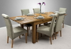 "Furniture 4ft 7"" x 3ft Rustic Solid Oak Extending Dining Table + 6 Sage Fabric Chairs"
