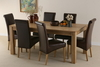 Furniture Chaucer Solid Oak 6ft x 3ft Dining Set + 6 Scroll Back Leather Chair