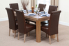 "Furniture Chunky 5ft x 2ft 6"" Solid Oak Dining Table + 6 Brown Leather Chairs"