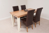 Furniture Country Cottage Painted 5ft Dining Table and 4 Scroll Back Leather Dining Chairs