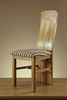 Lily Natural Solid Oak and Brown Stripe Fabric Dining Chair