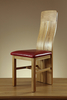 Furniture Lily Natural Solid Oak and Red Leather Dining Chair
