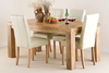 Tables Mantis Light Solid Mango 6ft x 3ft Dining Set + 4 Cream Leather Stitch Back Chairs