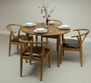 Furniture Rustic Solid Oak Round Bistro Dining Table with 4 Round Dining Chairs