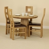 Tables Solid Oak Round Dining Table with Pyramid Base + 4 Brown Wave Back Chairs