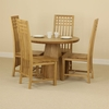 Tables Solid Oak Round Dining Table with Pyramid Base + 4 Solid Oak Lattice Back Dining Chair