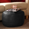 Furniture Accessories ICON™ Luxury Real Leather Bean Bag Footstool Black