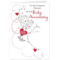 Greeting Cards  - Hallmark To My Husband Ruby Anniversary Card