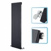 Bathrooms Cheapsuites 1600mm x 472mm - Black Gloss Upright Single Panel Designer Radiator - Flat Panels