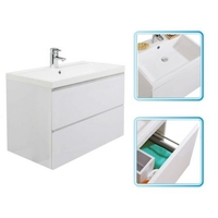 Bathrooms  - Cheapsuites 800mm - Leit Wall Hung 2 Drawer Basin & Cabinet