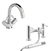 Bathrooms & Accessories  - Cheapsuites Atoll Mono Basin Mixer Tap & Bath Shower Mixer Pack