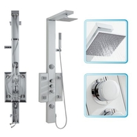 Showers  - Cheapsuites Bathroom Thermostatic Shower Column Tower Panel with 6 Body Jets Square Head