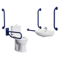 Bathrooms  - Cheapsuites Blue Disabled Bathroom Pack Toilet Basin Sink Taps Disability Aid Grab Rails