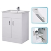 Cheapsuites Modern White Gloss Bathroom Vanity Cabinet 600mm Unit With Ceramic Basin Sink