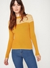 Women's Outerwear Womens Yellow Yoke Colour Block Ribbed Knitted Jumper, Yellow