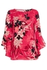 Women's Tops Pink Floral Print Flute Sleeve Top, Fuschia