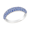 18ct White Gold 0.78ct Blue Sapphire Half Eternity Ring Size: L