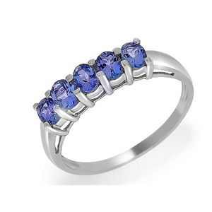 18ct White Gold 0.83ct Tanzanite Five Stone Ring Size: J