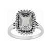 Sterling Silver 2.00ct Rock Crystal & Marcasite Cluster Ring Size: N