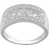 V&A Inspired Argentium Silver Irish Lace White CZ Half Eternity Ring Size: O