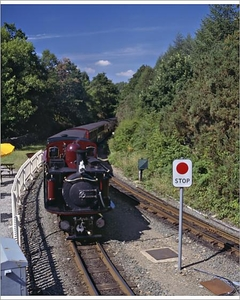 Art  - Ffestiniog Railway at Tan-y-Bwlch, the busiest of the North Wales narrow gauge railways Photographic Print