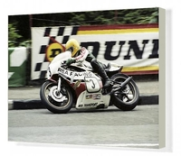 Art  - Joey Dunlop (Yamaha) winning the 1980 Classic TT Canvas Print