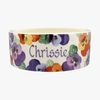 Pets Personalised Purple Pansy Large Pet Bowl