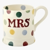 Crockery Seconds Polka Dot Mrs 1/2 Pint Mug