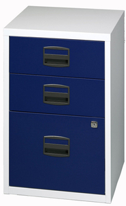 Computers  - Bisley A4 Home Filer 3 Drawer Lockable Grey and Blue