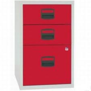 Computers  - Bisley A4 Home Filer 3 Drawer Lockable Grey and Red
