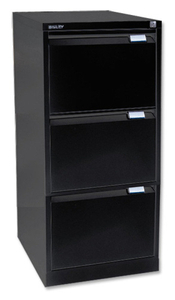 Computers  - Bisley Black Three-Drawer Filing Cabinet