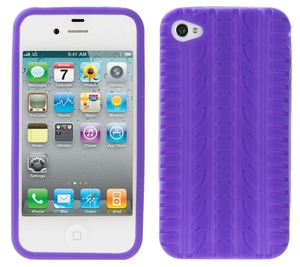 Mobile Phones  - Silicone Case for iphone 4G, Tyre Tread Purple