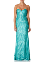 - CELINE - Mint Strapless Fitted Fishtail Maxi Dress