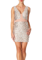 - CRYSTAL - Nude mesh bodycon dress