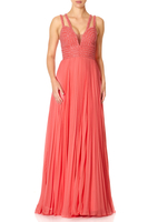 - EVE - Coral Pleated Skirt Maxi Dress