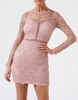 Women's Dresses & Skirts Forever Unique Blush Pink Long Sleeve Lace Bodycon Dress - Xs, Pink