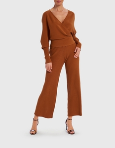 Forever Unique Tan Knitted Cropped Top And Trouser Co-Ord Set - Onesize,  Tan