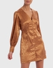 Forever Unique Tan Leopard Print Satin Button Up Shirt Dress - M