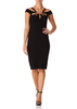 KRISTA - Black Fitted Off the Shoulder Pencil Dress