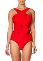 - MONO - Red Swimsuit with Cross-over Straps