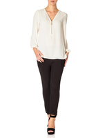 - SAMANTHA - Ivory blouse with 3/4 sleeves
