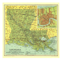 Art  - 1930 Louisiana Map - Art Print
