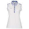 Green Lamb Cleo Sleeveless Epaulette Trimmed Polo - White/Sapphire