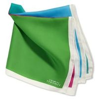 General Clothing   - Sky  radish  green & aqua plain quarter silk handkerchief