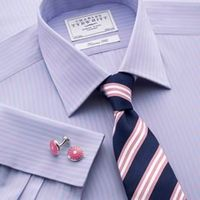 General Clothing   - Sky & pink bengal tailored fit shirt